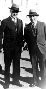 "A photograph of Edward P. ""Slip"" Madigan with his mentor Knute Rockne of Notre Dame at Saint Mary's in 1931. Courtesy St. Mary's College Archive."